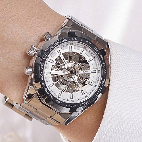 Luxury Men Steampunk Skeleton Stainless Steel Automatic Mechanical Wrist Watch (White) (Mechanical White Gold Pocket Watch)