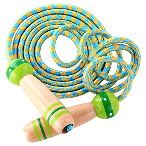 MyLifeUNITWooden Handle Jump Rope, Adjustable Skipping Rope Boys Girls Kids Fitness Exercise