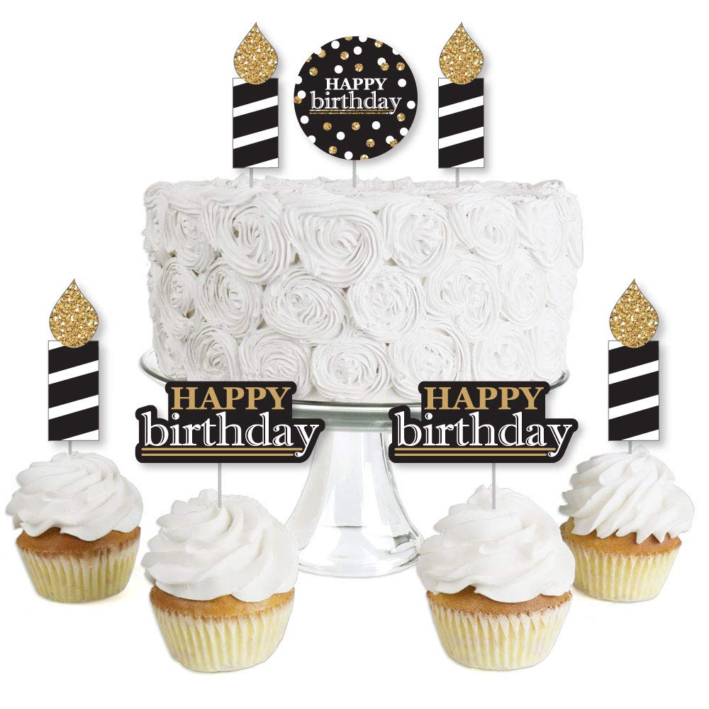 Amazon.com: Adult Happy Birthday - Gold - Dessert Cupcake Toppers - Birthday  Party Clear Treat Picks - Set of 24: Toys & Games