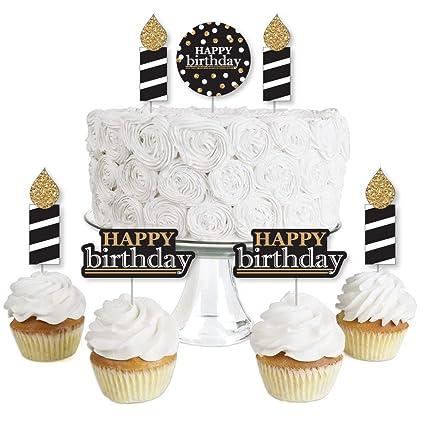 Amazon.com: Adulto feliz cumpleaños – Oro – Postre Cupcake ...