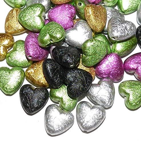 Mix Color Acrylic Drawbench Metallic Matte 17mm Puff Heart Beads 20pc