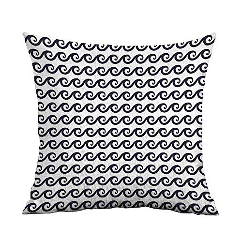 Geometric Printed Custom Pillowcase Curlicue Design Wavy Ocean Pattern Aquatic Travel Cruise Theme Maritime Decorative Sofa Hug Pillowcase W24 x L24 Inch Dark Blue White]()