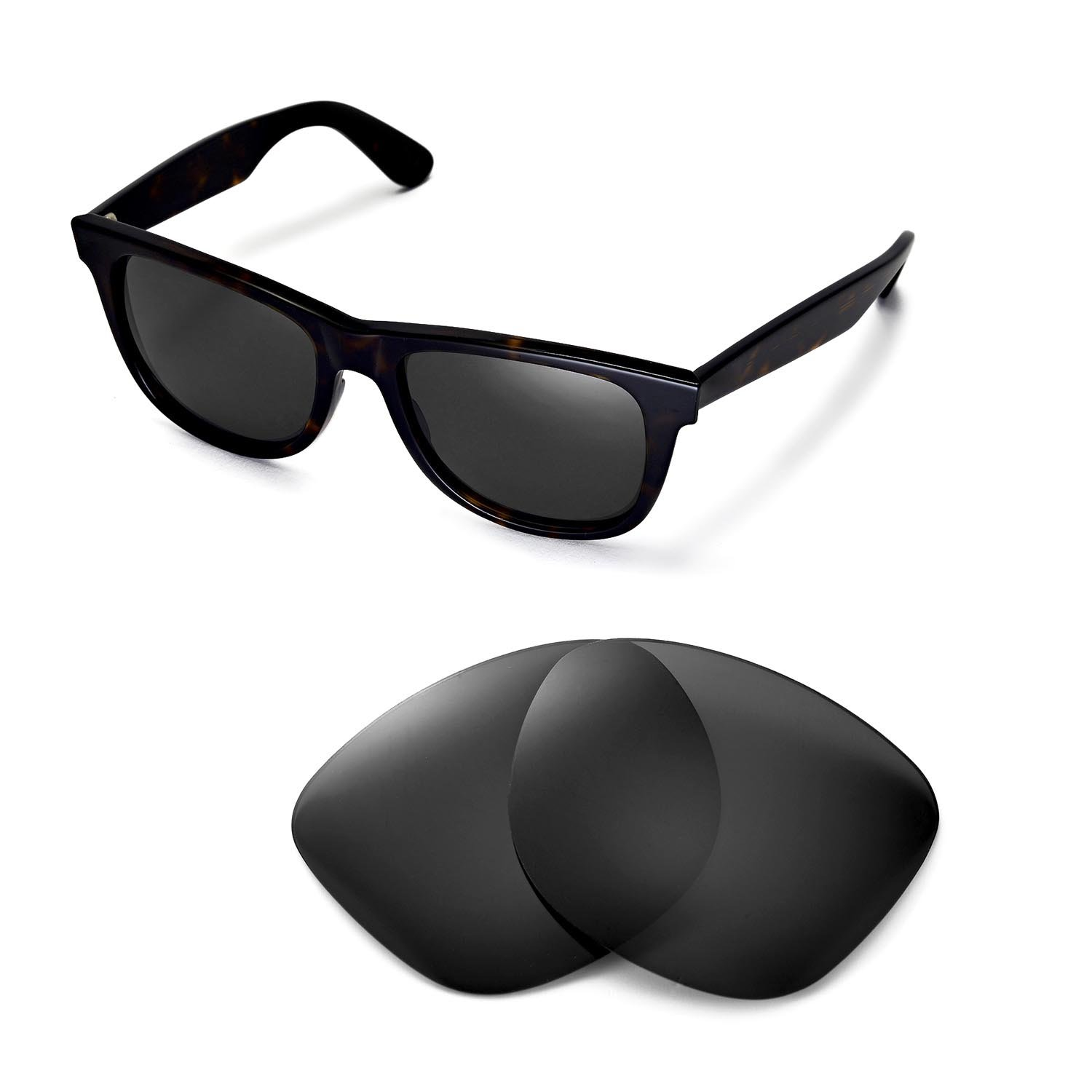 56b655826e Amazon.com  Walleva Replacement Lenses for Ray-Ban Wayfarer RB2140 54mm  Sunglasses - Multiple Options Available(Black - Polirazed)  Clothing