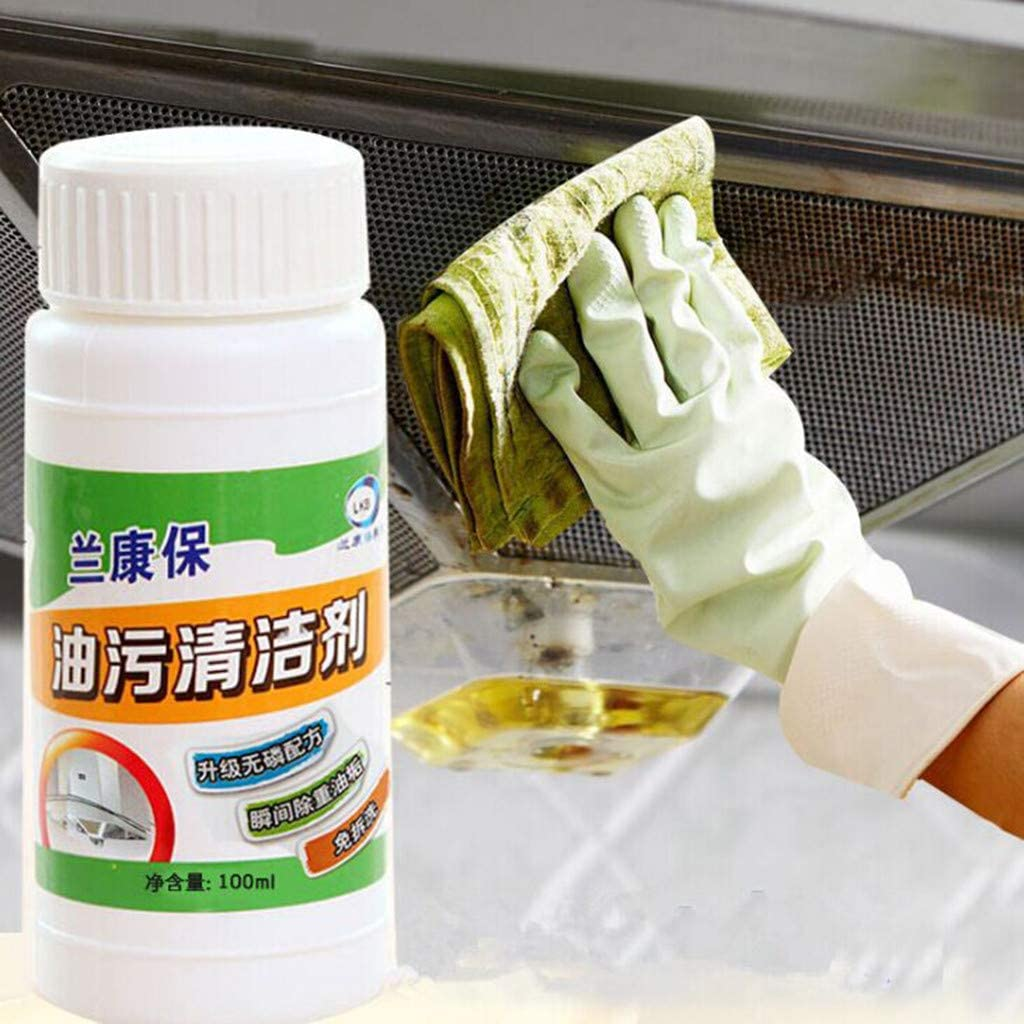 Agelloc 100ml Kitchen Cleaner Grease Grime Cleaner Concentrate Cleaning Agent Stain Remover for Oil Hood Stove Exhaust Fan Microwave Oven