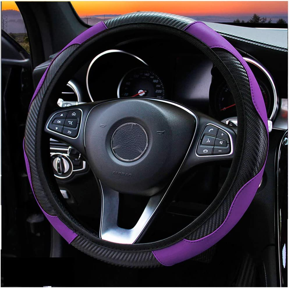 FLKAYJM Universal Fit D-Type Car Steering Wheel Cover 37-38CM//15 Anti Slip Laser Brushed Leather Breathable Protector Car Accessory Heavy Duty Year Round Use for Truck SUV Van,Purple