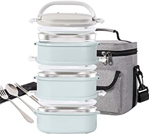 Lunch Box Stainless Steel Food Containers 3 Stackable Square Bento Box with Insulated Lunch Bag Spoon and Fork Set for School Office Or Picnic (Nordic Blue)