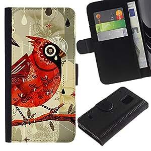 KingStore / Leather Etui en cuir / Samsung Galaxy S5 V SM-G900 / Pájaro Dibujo Acuarela Lluvia