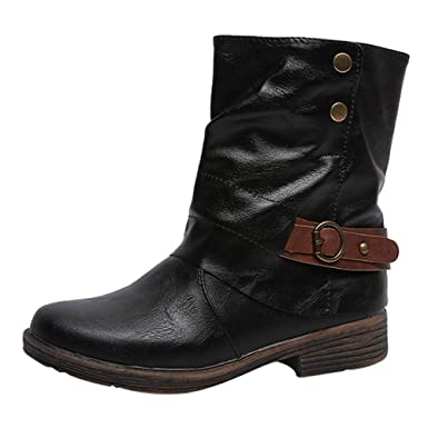 9ddc77b09b45 Riou Fashion Vintage Women Round Toe Leather Ankle Booties