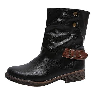 Women/'s Middle Block Heels Ankle Boots Zip Winter Warm Shoes Big US Size 6-7.5