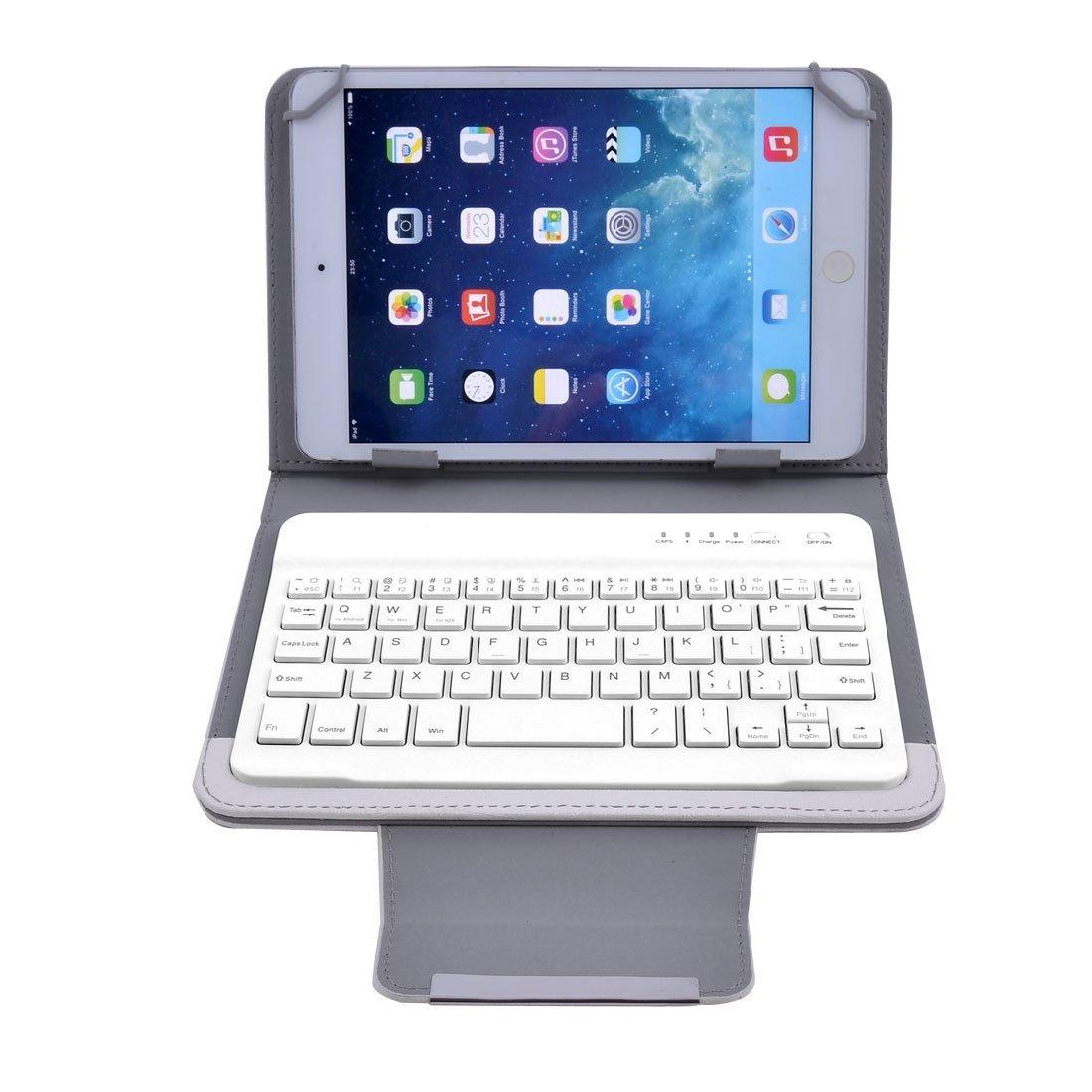 Amazon.com: DealMux PU PC Leather Bluetooth destacável sem fio de couro Keyboard Cover Branco w Suporte para 7 polegadas 8 polegadas Tablet: Electronics