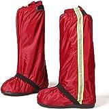 ロングレインシューズカバー 防水対策 背面ファスナー仕様 男女兼用 赤 XXL