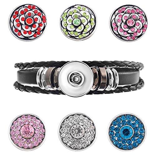 Souarts 1Set Fleur 1 Bracelet Multi Rangs avec 6 Bouton à Pression Strass Cadeaux