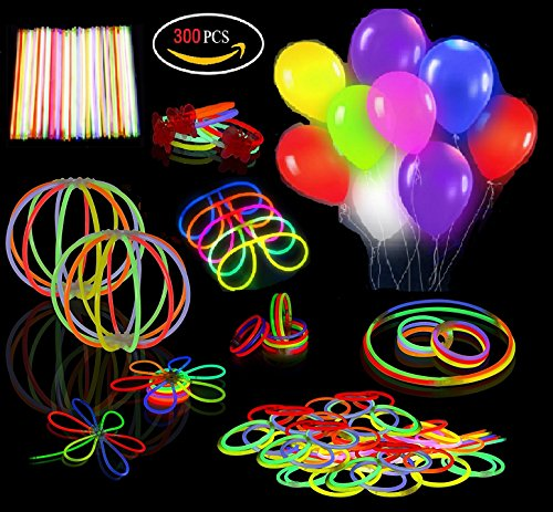 Ouker 20 Pack Mixed Colors LED Light Up Balloons Plus 280 Glow Stick Accessories,Glow in the Dark Kids Birthday Party favor Toys and Decoration,Gift for Kids over 3 years old