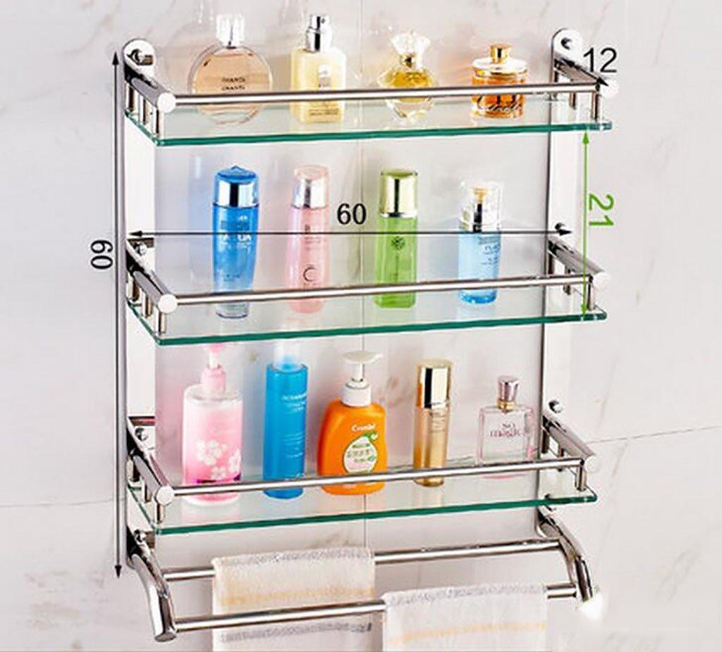 YAOHAOHAO Bathroom shelves shelving bath rooms in glass, 304 stainless steel towel rails, bath rooms, 3-storey glass shelf Shelf (Color 2, its size: 60 cm).