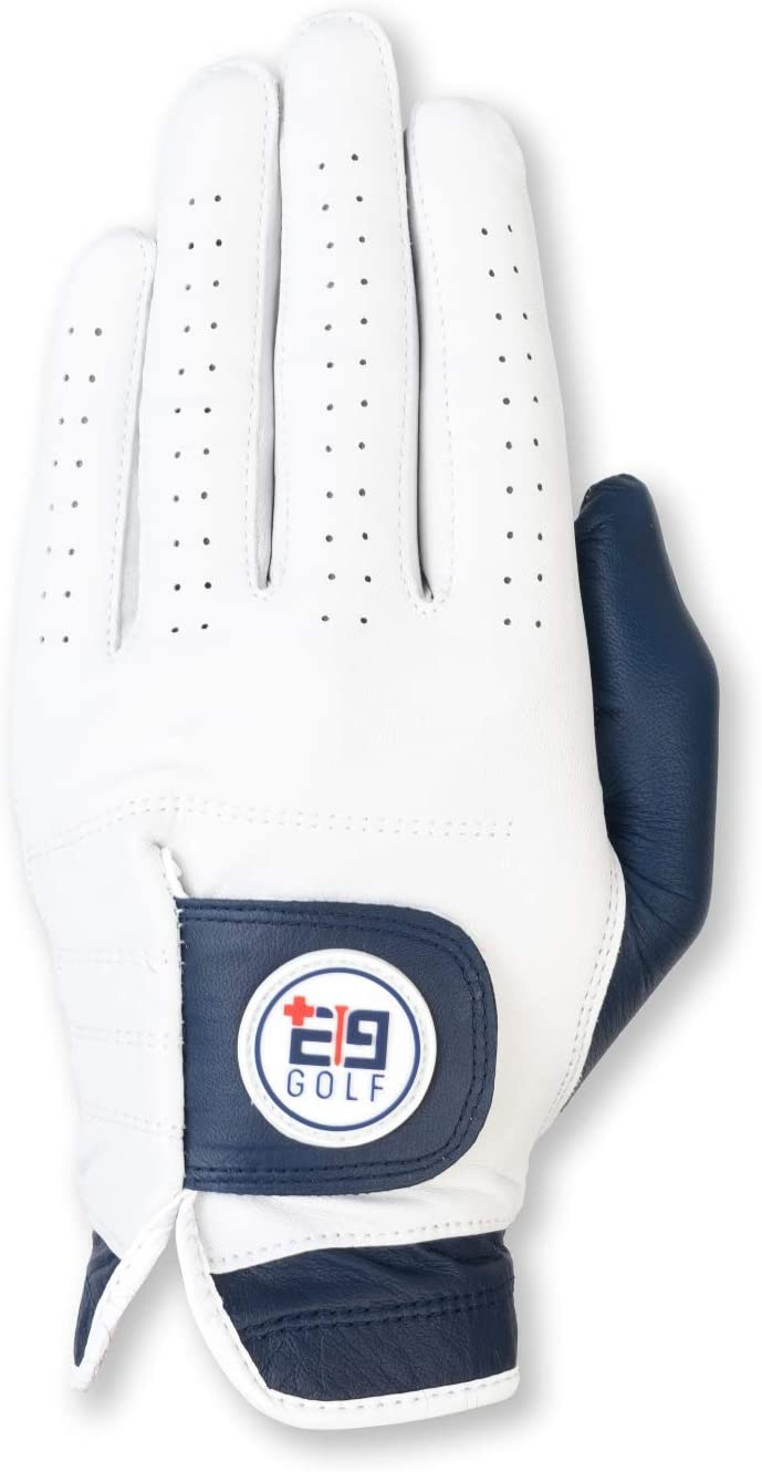E9golf Tour Performance Leather Golf Glove – Premium Gloves for Men – White and Navy Design – Ultra Soft Leather – Perfect Design for A More Stylish Game – Breathable and Comfortable