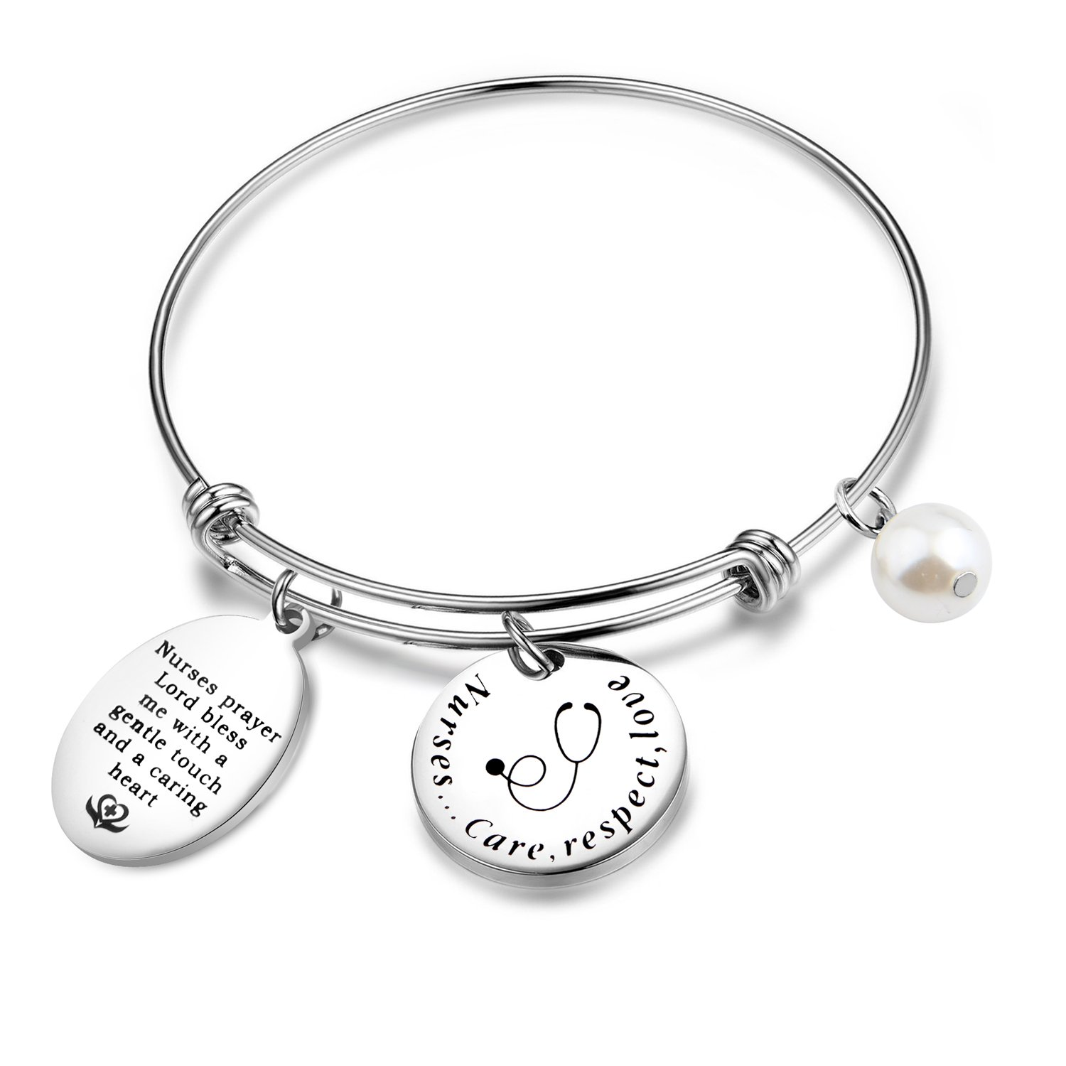 MAOFAED Nurse Necklace,Nurse Prayer Bracelet,RN Charms, Nurse Prayer Pendant Necklace,Nurse Jewelry MAOFAED Nurse Necklace Nurse Prayer Bracelet RN Charms MF-17NE0405-A