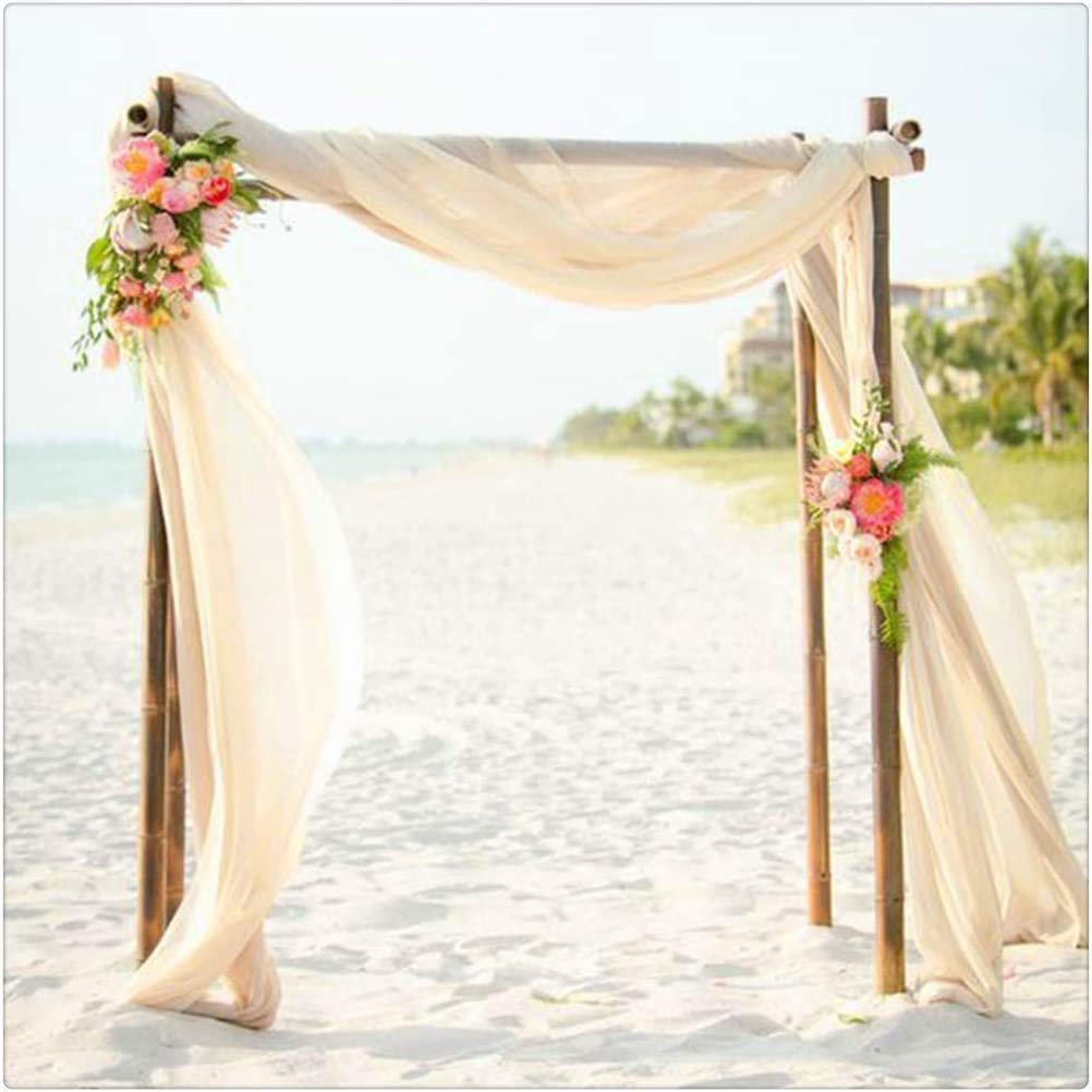 QueenDream 2 Pieces Ivory Chiffon Table Runner Wedding Decorations 10FT Sheer Table Runner Chiffon Overlay Rustic Wedding Party Table Decorations