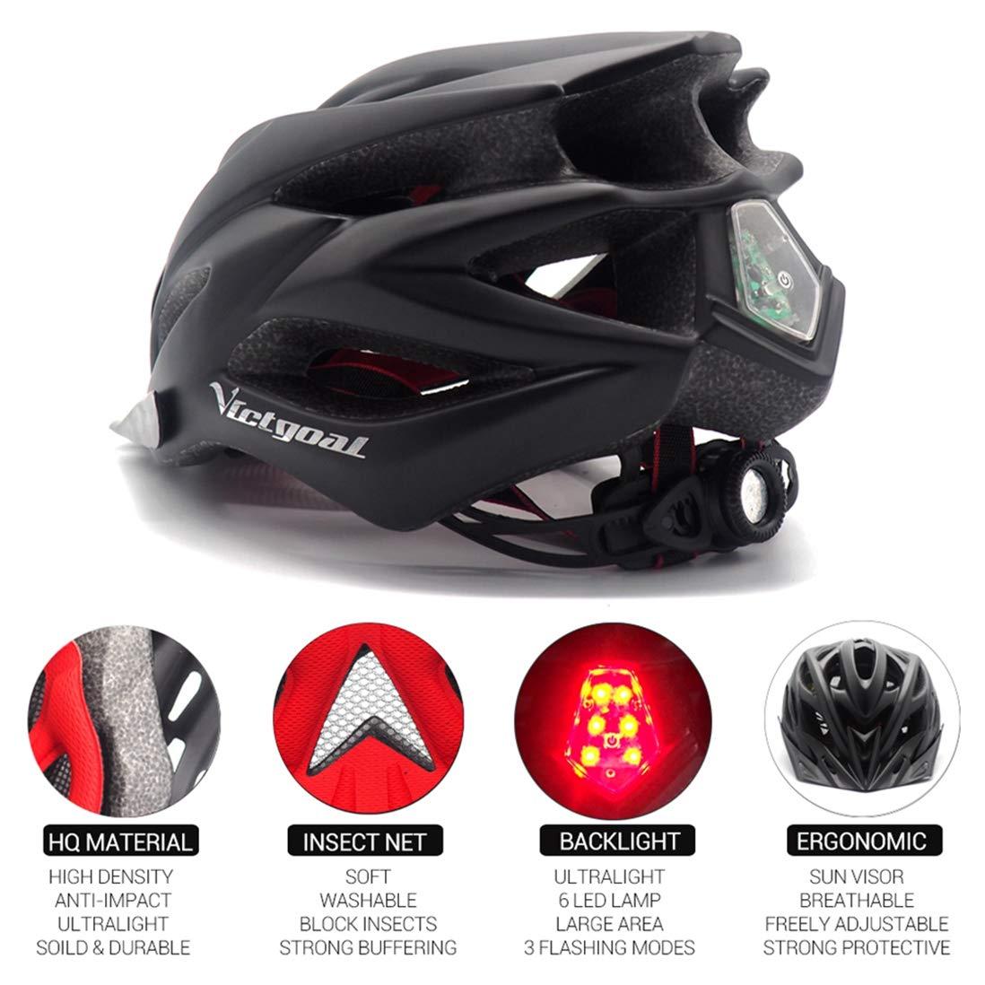 M/änner Frauen Breathable Ultra Sports Fahrradhelm Skateboard//Roller-Skate//Inline-Skating OLEEKA Fahrradhelm mit LED-Licht und Visor