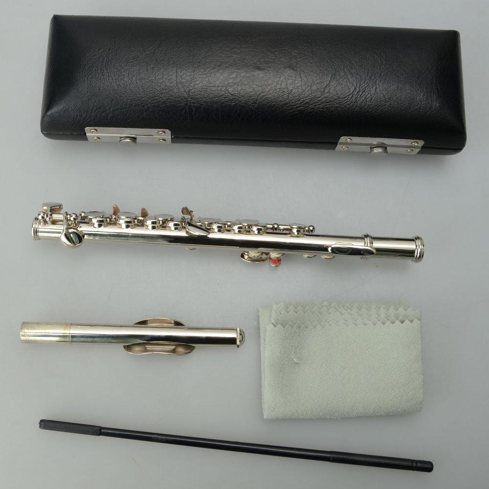 Cupron/íquel de llave C ba/ñado en plata con pa/ño de limpieza de corcho caja acolchada YoZhanhua Piccolo Ottavino