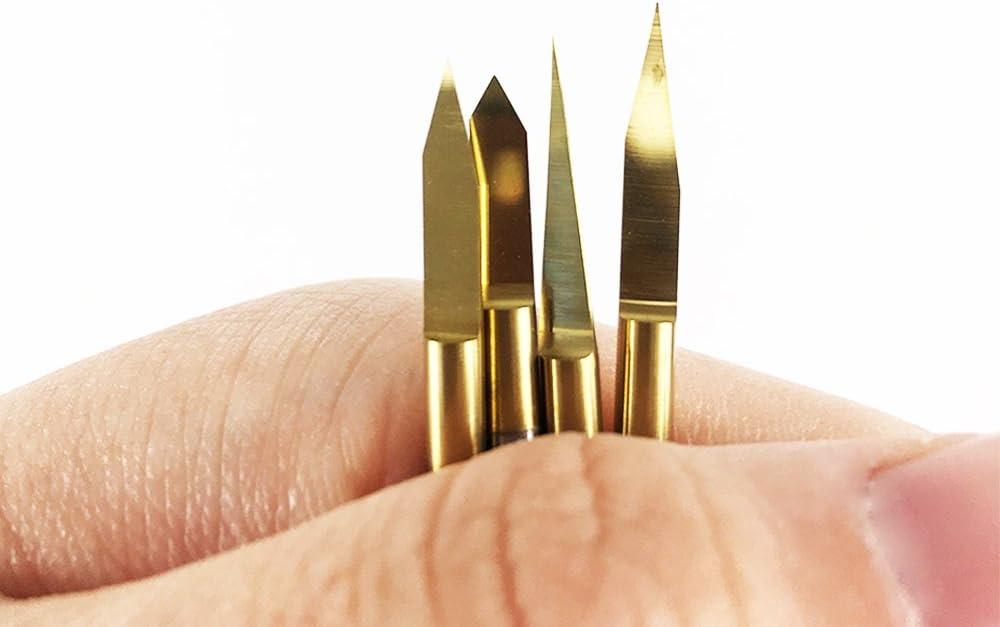 Autek 30 Degree 0.1mm Tip Titanium Coated Carbide PCB Engraving Bits CNC Router Tool 5pcs