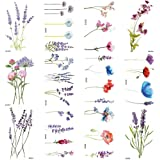 COKTAK 12Pieces/Lot 3D Watercolor Lavender Flower Temporary Tattoos For Women Body Art Arm Fake Flora Adults…