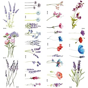 COKTAK 12Pieces/Lot 3D Watercolor Lavender Flower Temporary Tattoos For Women Body Art Arm Fake Flora Adults TattooSticker Waterproof Girls Tatoos