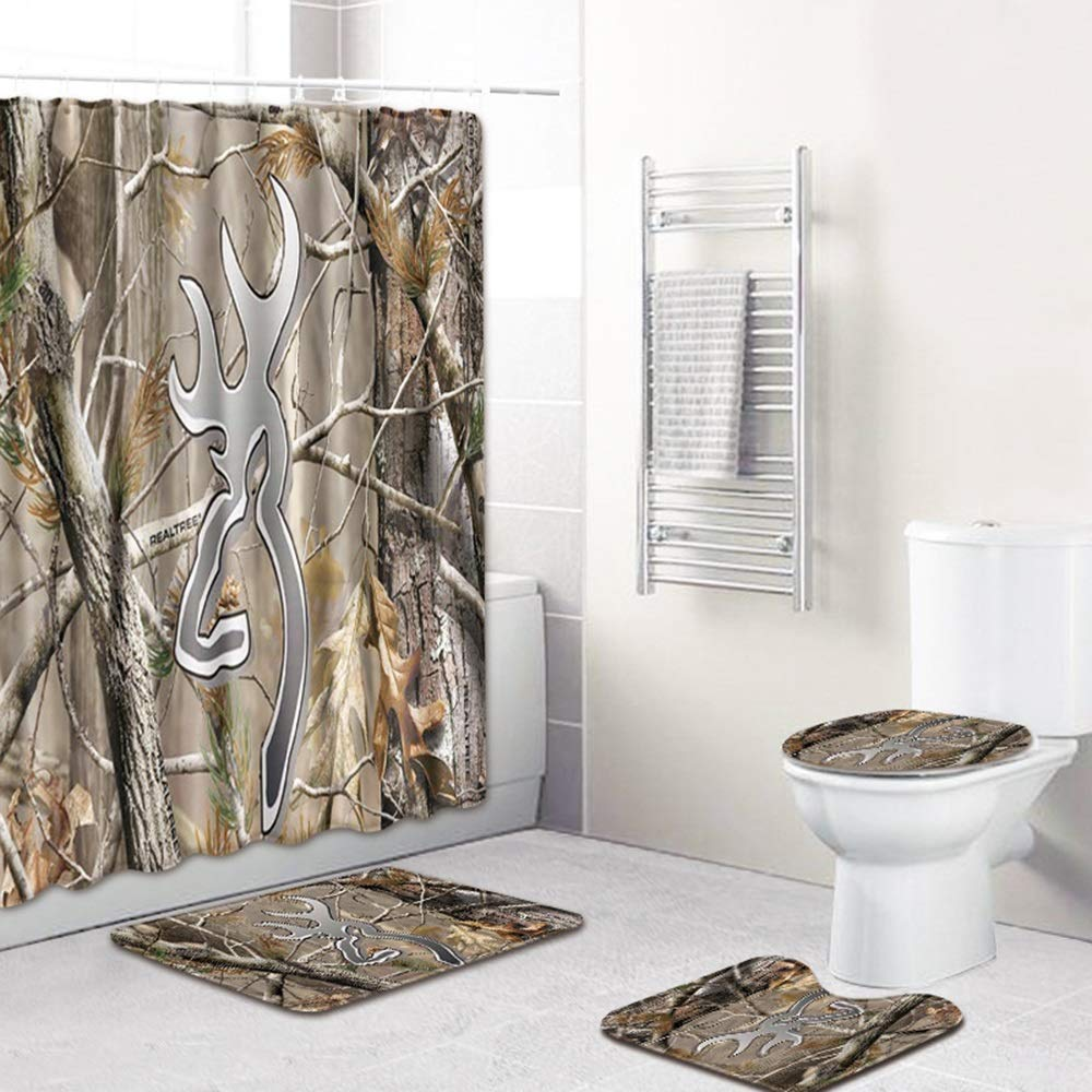 ETH Tree Pattern Shower Curtain Floor Mat Bathroom Toilet Seat Four-Piece Carpet Water Absorption Does Not Fade Versatile Comfortable Bathroom Mat Can Be Machine Washed Durable by ETH