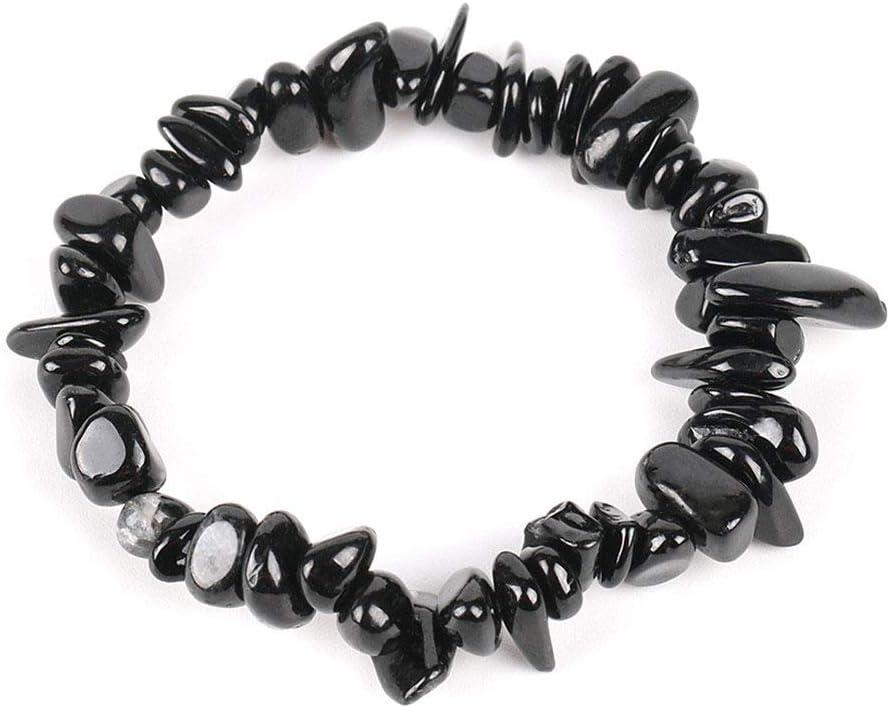 HXML De Piedra De Gema Natural Cuentas de Chip de Chakra de Turmalina Negro Pulseras para Las Mujeres de Tamaño Pequeño Reiki Curación Meditación Aura