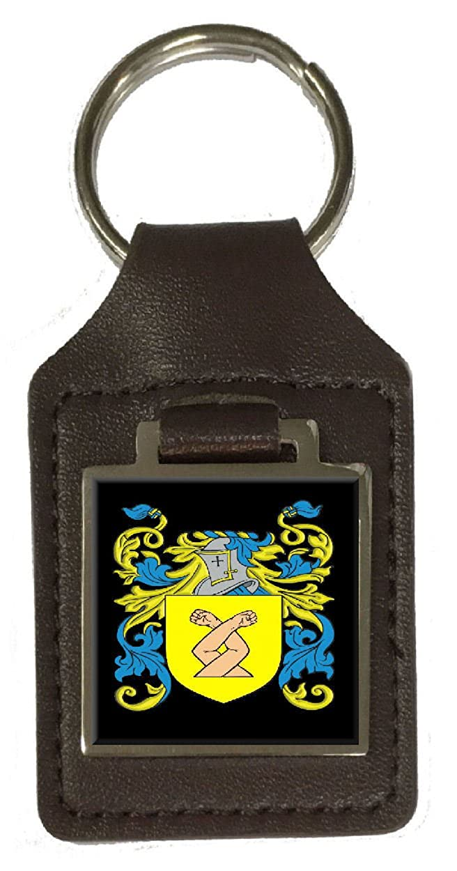 Earth Family Crest Surname Coat Of Arms Brown Leather Keyring Engraved