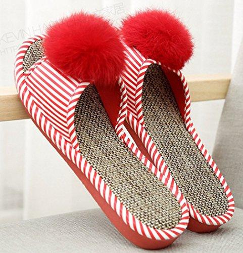 Pantofole Da Donna Cattior Open Toe House Pantofole Rosse