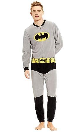 Briefly Stated Mens Batman Union Body Suit Pajama gray M
