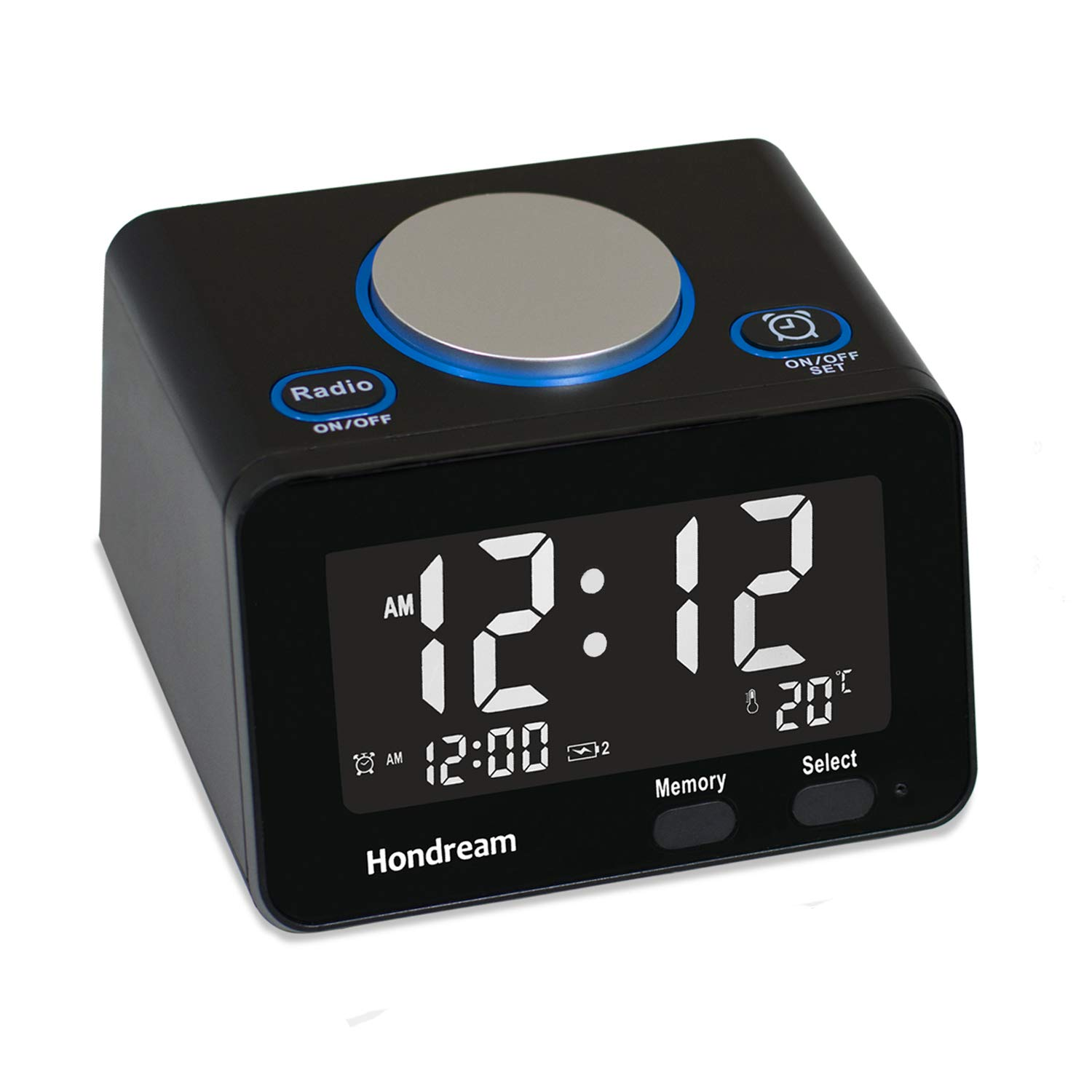 Alarm Clock, USB Alarm Clock, Digital Alarm Clock Radio with USB Phone Charger, FM Radio, Thermometer and LCD screen for Bedside, Bedroom, Kitchen, Hotel, Table, Desk (Y0-1ADN-D66Z)
