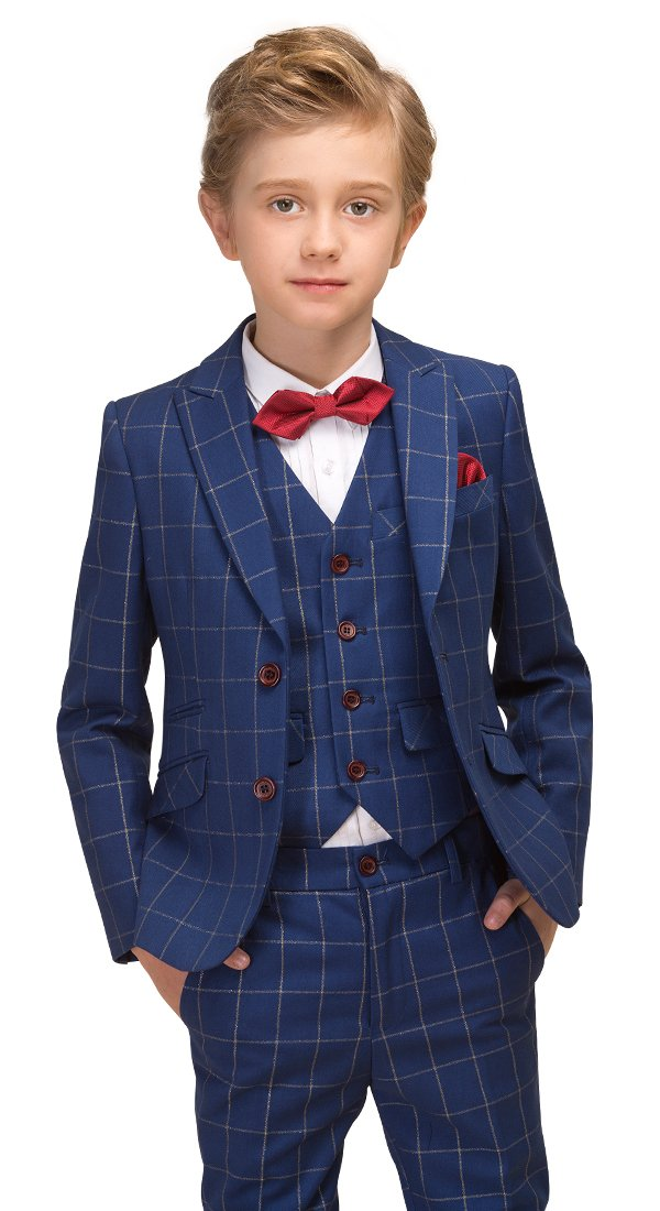 ELPA ELPA Boys Slim Fit 6 Piece Plaid Suit Formal Dress Set