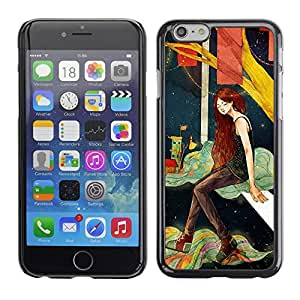 Planetar® ( Deep Girl Alone Night Artistic ) Apple (5.5 inches!!!) iPhone 6+ Plus / 6S+ Plus Fundas Cover Cubre Hard Case Cover