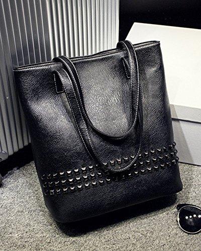 Donna Shopper Borse A Mano Tote Borsa a Spalla Rivetto Handbag Borsa A Tracolla Nero