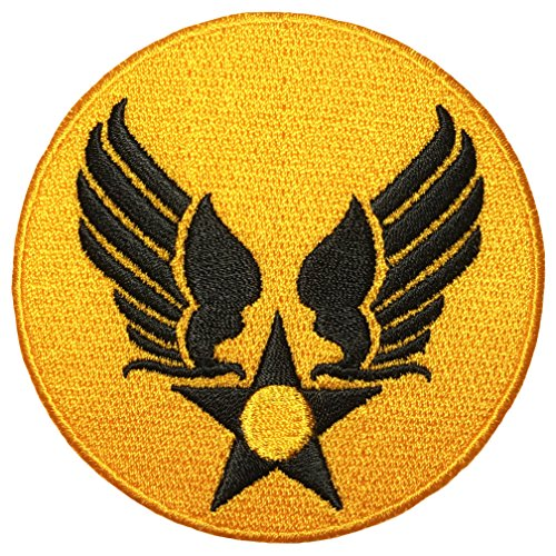 US Air Force Army Military Jacket Vest Star Wing Sew Iron on Logo Emblem Embroidered Badge Sign Costume Patch - Yellow Black (US-AIR-FORCE-WING-YWBK)
