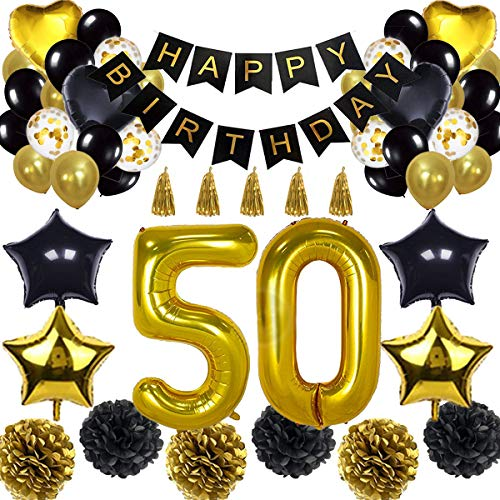 50th Birthday Decorations Balloon Banner - Happy Birthday Banner, 50th Gold Number Balloons, Black and Gold, Number 50 Birthday Balloons, 50 Years Old Birthday Decoration Supplies