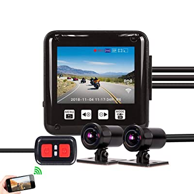 Vsysto Dash cam, Sport Accident Proof Camera DVR, Full Body Waterproof, with 2'' Screen, IMX323, Front and Rear Camera Driving Recorder for Motorcycle, Bike (1080p+1080P) : Camera & Photo