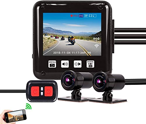 Vsysto Dash cam, Sport Accident Proof Camera DVR, Full Body Waterproof, with 2 Screen, IMX323, Front and Rear Camera Driving Recorder for Motorcycle, Bike 1080p 1080P