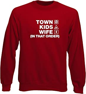 T-Shirtshock Felpa Girocollo Uomo Rossa WC1247 Swindon Town Kids Wife Order