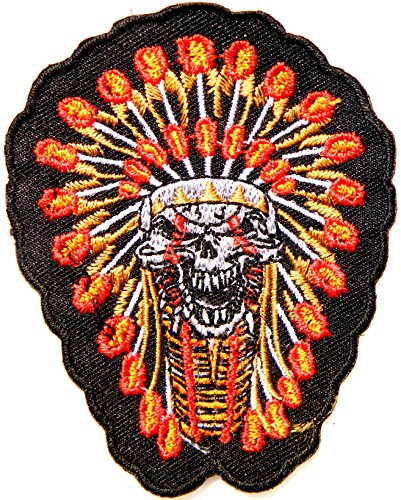 [Native American Indian Feather Skull Ghost Skeleton Biker Rider Hippie Punk Rock Heavy Metal Tatoo Patch Sew Iron on Embroidered Sign Badge] (Indian Costume No Sew)