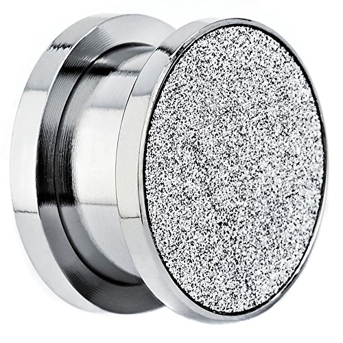 2g Sand (Sandpaper Texture Silver Solid Screw on Surgical Steel Ear Plugs Sold Pair GA21S (2g=6mm))