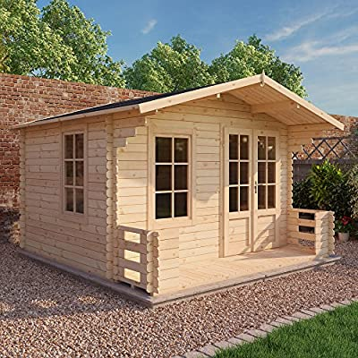 Waltons 12 x 10 apex garden log cabin on a lawn with a treelined backdrop