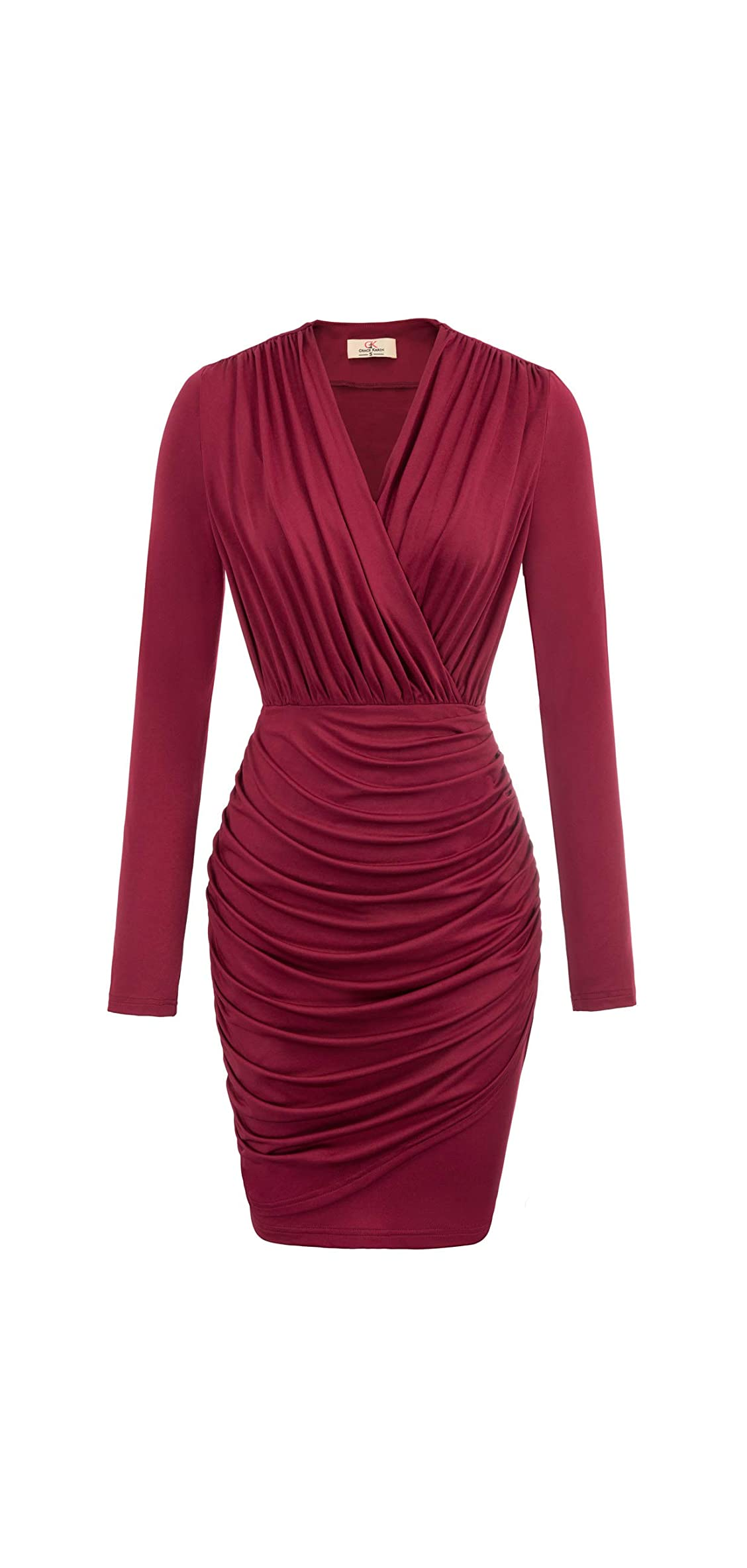 Women Retro Long Sleeve Ruched Wrap Party Pencil
