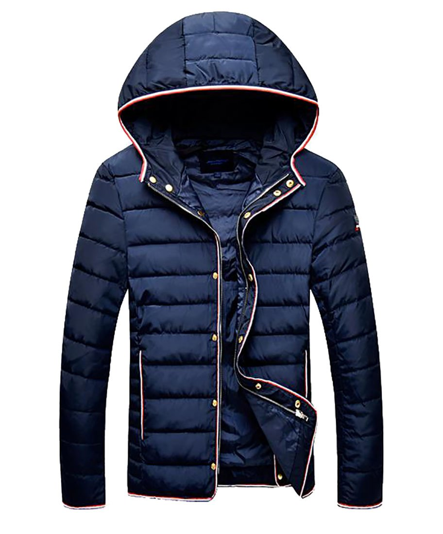 Pandapang Mens Button Down Lightweight Hooded Short Puffer Down Jacket Blue 2X-Large