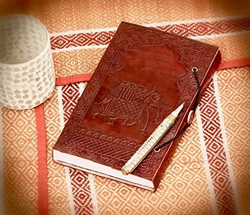 SouvNear Genuine Embossed Leather Elephant Journal with Clasp - Brown Unlined Writing Notebook with Handmade Paper - Retro Poets Notebook / Sketchbook / Daily Diary / Travel - Elephant Embossed