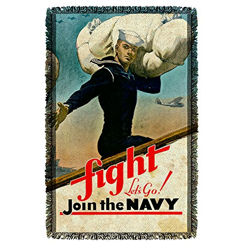 United States Navy Armed Forces Retro Join Navy Poster Woven Throw Blanket
