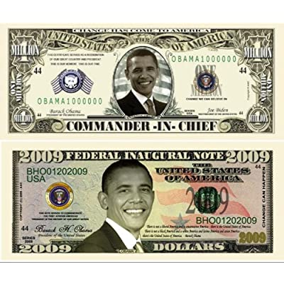 Barack Obama 44th President 2009 Double Collectors Bill Collector Set 1-One Million Dollar Bill and 1-2009 FEDERAL INAUGURAL NOTE 2009 Dollar Bill: Toys & Games