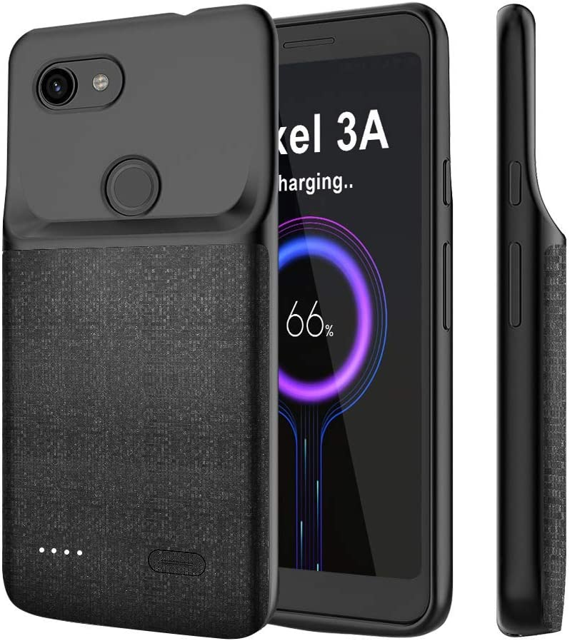 NEWDERY Google Pixel 3A Battery Case, 4700mAh Charging Case Extended Portable Protective with Soft TPU Raised Edge, Rechargeable Charger Case Cover for Google Pixel 3A