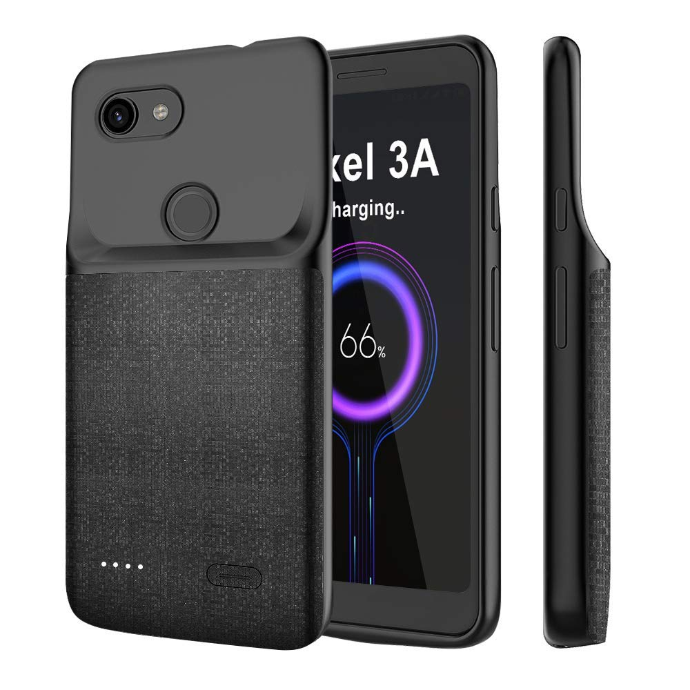 NEWDERY Google Pixel 3A Battery Case, 4700mAh Charging Case Extended Portable Protective with Soft TPU Raised Edge, Rechargeable Charger Case Cover for Google Pixel 3A by NEWDERY